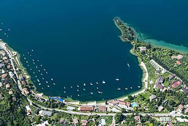 Bay, Val di Sogno near Malcesine on Lake Garda, aerial view, Province of Veneto, Italy, Europe