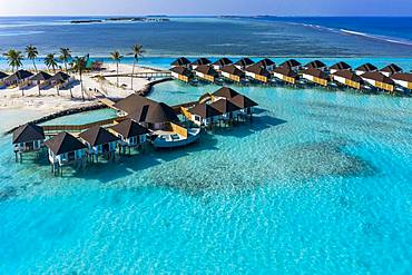 Aerial view, water bungalows in turquoise water, tourist resort, South Male Atoll, Maldives, Asia