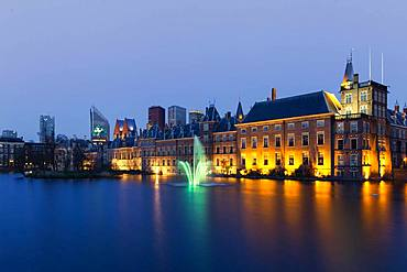 Binnenhof at dusk, seat of the Dutch parliament, The Hague, Holland, Netherlands