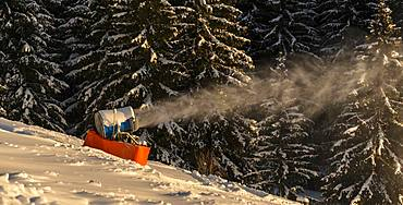 Snow cannon in winter, SkiWelt Wilder Kaiser, Brixen im Thale, Tyrol, Austria, Europe