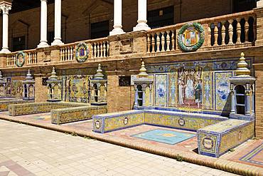 Mosaic pictures from Azulejo tiles, Plaza de Espana, Sevilla, Andalusia, Spain, Europe