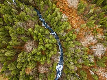 Waterfall Obernachkanal, mixed forest with mountain river in autumn from above, drone shot, bird's eye view, Upper Bavaria, Bavaria, Germany, Europe