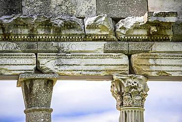 Columns with capital, detail, ruin on the excavation site, Apollonia, Vlora, Vlore, Albania, Europe