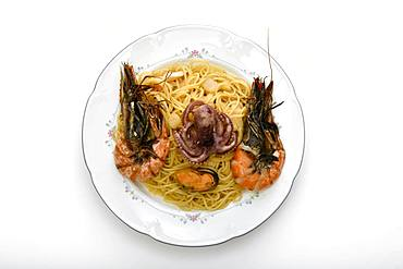 Plate spaghetti with seafood, Stuttgart, Baden-Wuerttemberg, Germany, Europe