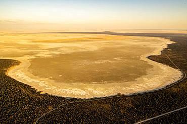 Aerial view, dried-out salt lake, eastern edge of the Etosha Pan, Etosha National Park, Namibia, Africa