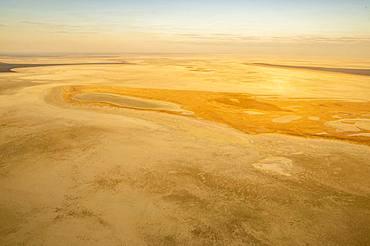 Aerial view, dried-out salt lake, Etosha pan, Etosha National Park, Namibia, Africa