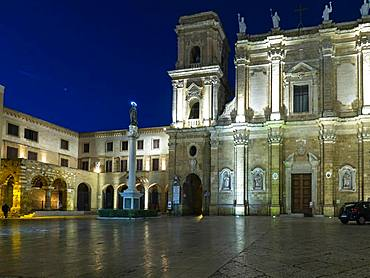 Cathedral and Museum Cathedral Square at dusk, Brindisi, Puglia, Italy, Europe