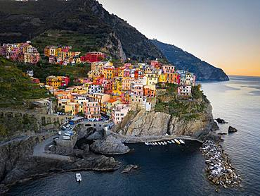 Manarola, aerial view at sunrise, harbour, Cinque Terre, Liguria, Italy, Europe