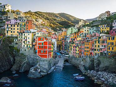 Riomaggiore, aerial view, colorful houses, port, Cinque Terre, Liguria, Italy, Europe