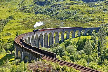 Glenfinnan viaduct from the Harry Potter films with historic train, Jacobin Express, Glenfinnan, Scotland, Great Britain