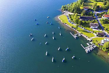 Yacht harbour Bad Wiessee, Lake Tegernsee, drone shot, Upper Bavaria, Bavaria, Germany, Europe