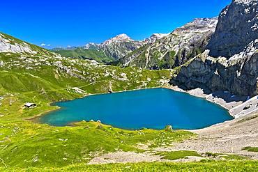 Mountain lake Iffigsee, Lenk in the Simmental, Switzerland, Europe