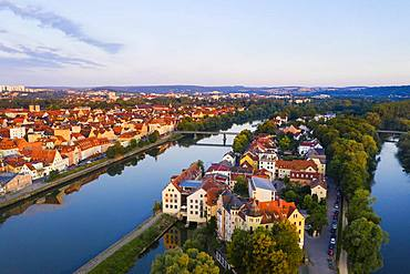 Danube Island Upper Woehrd and Old Town, Regensburg, aerial view, Upper Palatinate, Bavaria, Germany, Europe