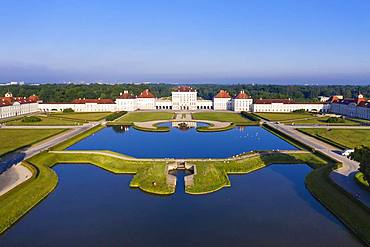 Castle Nymphenburg with castle park, view from east, aerial view, Munich, Upper Bavaria, Bavaria, Germany, Europe