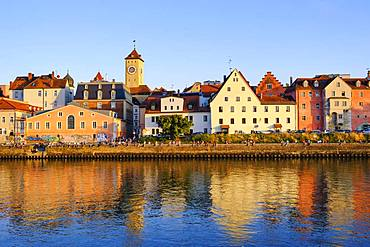 Danube bank at the Weinlaende with town hall tower, Regensburg, Upper Palatinate, Bavaria, Germany, Europe