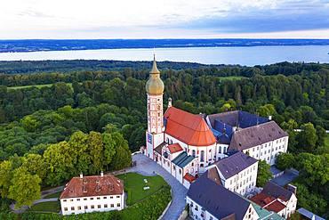 Andechs Monastery, aerial view, Lake Ammer, Fuenfseenland, Pfaffenwinkel, Upper Bavaria, Bavaria, Germany, Europe