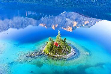 Eibsee lake with Schoenbichl Island and water reflection of the Zugspitze in the morning light, near Grainau, Werdenfelser Land, aerial photo, Upper Bavaria, Bavaria, Germany, Europe