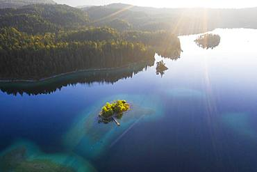 Eibsee lake with Maximilian island in the morning light, near Grainau, Werdenfelser Land, aerial view, Upper Bavaria, Bavaria, Germany, Europe