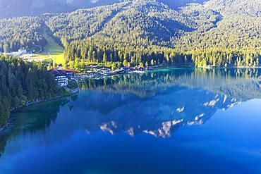 Eibsee-Hotel, Eibsee lake, near Grainau, Werdenfelser Land, aerial view, Upper Bavaria, Bavaria, Germany, Europe