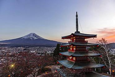 Five-storey pagoda, Chureito Pagoda, overlooking Fujiyoshida City and Mount Fuji Volcano, Yamanashi Prefecture, Japan, Asia