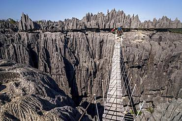 Tourist on suspension bridge over gorge in rugged limestone rocks, limestone rocks in Tsingy de Bemaraha National Park, Madagascar, Africa