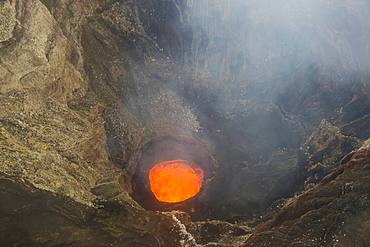 Glowing lava lake in the caldera of the Ambrym volcano, Ambrym Island, Vanuatu, Oceania