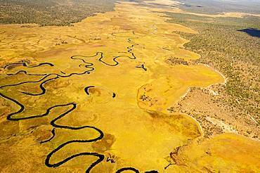Aerial view, Cubango river meanders through grass savannah, near Cuito Cuanavale, Cuando Cubango Province, Angola, Africa