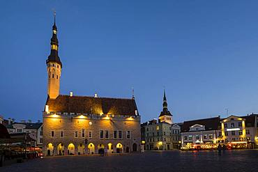 Gothic Town Hall on the Town Square in the old town at the blue hour, Tallinn, Estonia, Europe