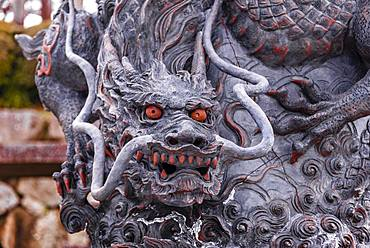 Dragon figure with red eyes, sculpture, Kiyomizu-dera temple, Buddhist temple, Kyoto, Japan, Asia