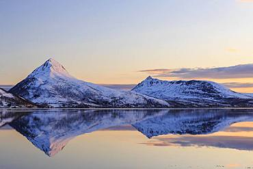 Midnight sun, snow-covered mountains Skinnkollen and Astritinden, water reflection in the fjord, Stonnesbotn Fjord, island Senja, Troms, Norway, Europe