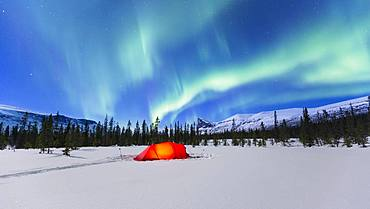 Northern Lights (Aurora borealis) above a red illuminated tent in winter, Kungsleden, Province of Lapland, Sweden, Europe