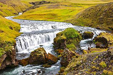 Upper Skogafoss, Sudurland, South Iceland, Iceland, Europe