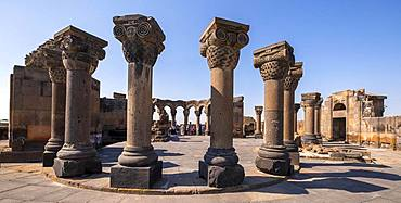 Columns, ruins of the 7th century round church, Swartnoz, Armavir Province, Armenia, Asia