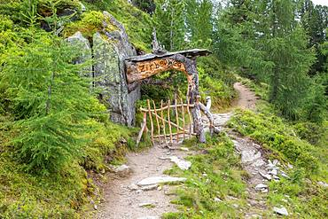 Entrance Zirbenweg, arolla pine pine forest, Graukogel, Bad Gastein, Hohe Tauern National Park, Austria, Europe