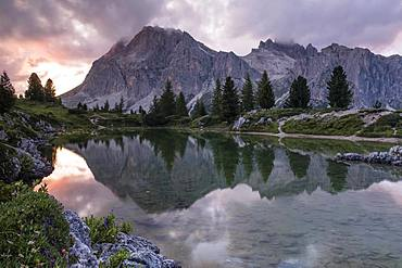 Lake Lago de Limides and Lagazuoi, with water reflection, Dolomites, Alps, South Tyrol, Italy, Europe