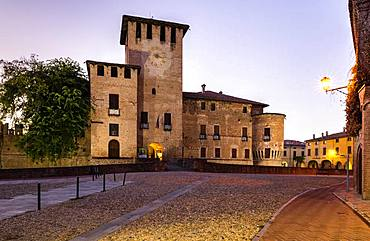 Dusk, city centre with Rocca Sanvitale Castle, Fontanellato, Province of Parma, Emilia-Romagna, Italy, Europe
