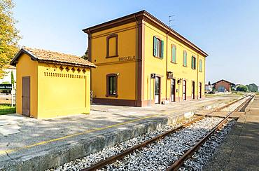 Station of Brescello, location of the films of Don Camillo and Peppone, Brescello, Province of Reggio Emilia, Emilia-Romagna, Italy, Europe