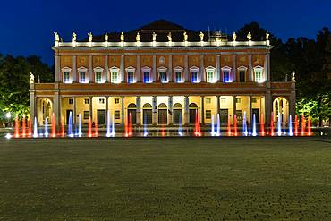 Illuminated fountain at the theater, Teatro Municipale also Teatro Municipale Valli, dusk, Reggio Emilia, Emilia-Romagna, Italy, Europe