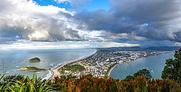 Panoramic view of Mount Manganui district and Tauranga harbour, view from Mount Maunganui, Bay of Plenty, North Island, New Zealand, Oceania