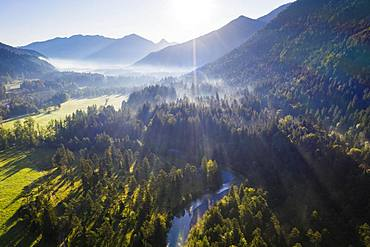 River Jachen, Jachenau near Lenggries, Isarwinkel, aerial view, Upper Bavaria, Bavaria, Germany, Europe
