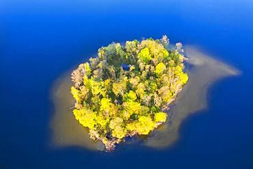 Island Muehlwoerth in Lake Staffelsee, aerial view, foothills of the Alps, Upper Bavaria, Bavaria, Germany, Europe