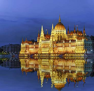 Parliament with reflection in the Danube, illuminated, dusk, Budapest, Hungary, Europe