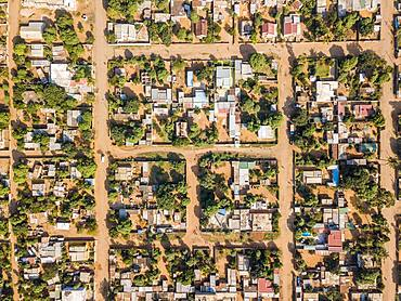 Aerial view of Matola, suburbs of Maputo, Mozambique, Africa