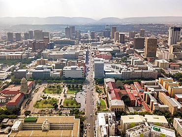 Aerial view of highrises of Pretoria downtown, Pretoria, South Africa, Africa