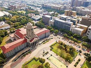 Aerial view of Tshwane city hall, Pretoria, South Africa, Africa