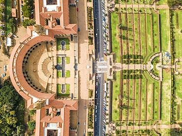 Aerial view of Unions building and Nelson Mandela garden, offices of the President and Government, Pretoria, South Africa, Africa