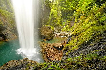 Waterfall Berglistueber, Linthal, Klausenpass, Canton Glaraus, Switzerland, Europe