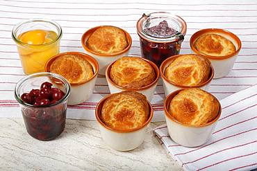 Swabian dessert, Pfitzauf with compote in small moulds, cherries and peaches, Germany, Europe