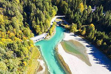 Lake Sachensee, reservoir at the Obernachkanal, near Wallgau, Werdenfelser Land, aerial view, Upper Bavaria, Bavaria, Germany, Europe