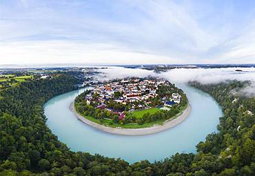 Old town in river bend of the Inn with fog, water castle at the Inn, aerial view, Upper Bavaria, Bavaria, Germany, Europe
